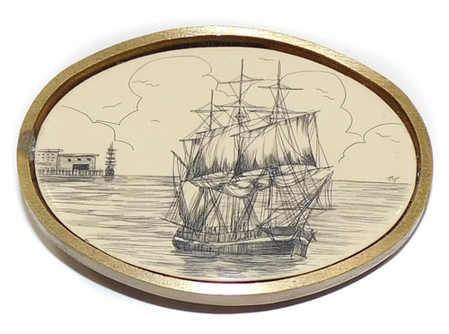 Vintage Signed 1978 BTS Brass Belt Buckle Scrimshaw Style Clipper Ship Design