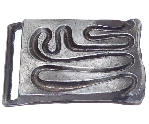 Vintage Signed Cast Metal Belt Buckle with Free Form Squiggle Design