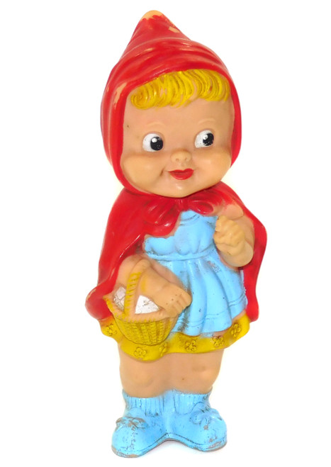 Vintage Spunky Stahlwood Little Red Riding Hood Rubber Squeaky Toy Figure Doll