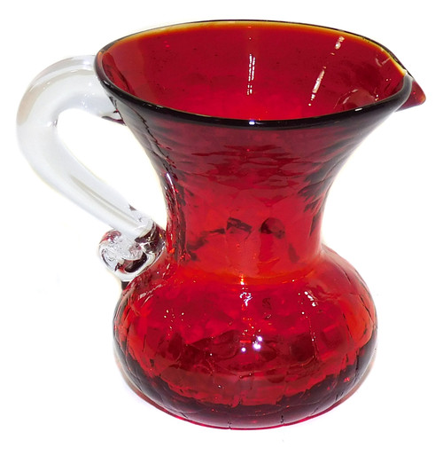 Vintage Squat Red Crackle Glass Hand Blown Art Glass Pitcher Vase Swung Handle