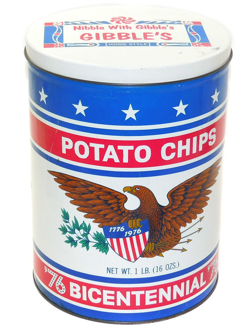 Vintage 1976 Bicentennial Themed Gibble's Potato Chips Tin Advertising Can
