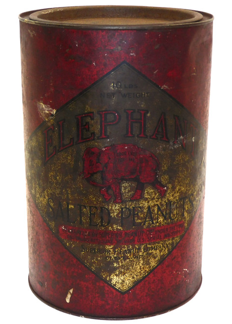 Antique Elephant Salted Peanuts Advertising Tin 10 Pound Can Superior Cleveland