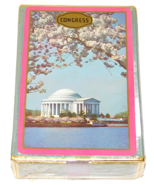 Vintage NOS Sealed Deck Congress Brand Playing Cards Jefferson Memorial