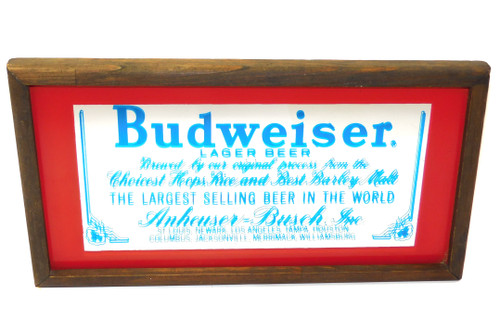 Vintage Wood Framed Budweiser Beer Advertising Decorative Wall Mirror Sign