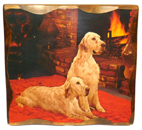 Vintage Retro Shellacked Wood Plaque with Dogs by Fireplace Retro Wall Decor