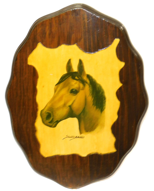 Vintage Retro Shellacked Wood Plaque with Sharon Blaine Horse Print Wall Decor