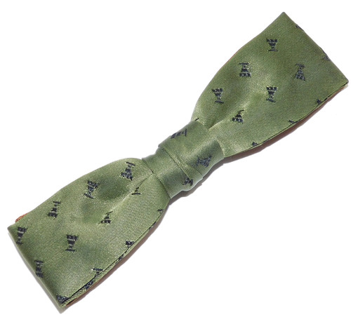 Vintage Royal Green Fabric with Blue Embroidered Pattern Clip-On Bow Tie