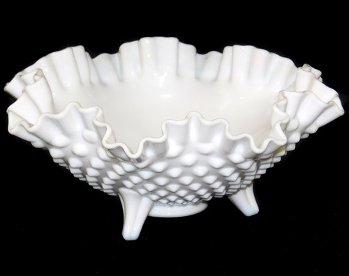 Vintage Fenton Milk Glass Footed Art Glass Bowl Hobnail Pattern & Ruffled Edge