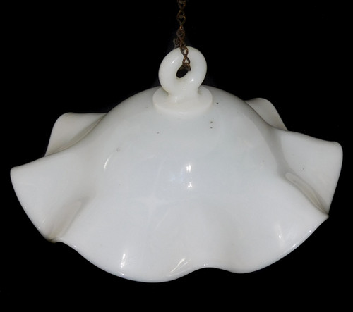 Antique Milk Glass Oil Lamp Smoke Bell with Ruffled Edge