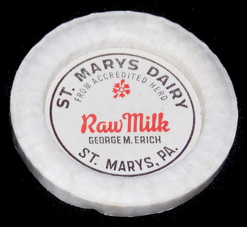Vintage Unused St. Marys Dairy Raw Milk Bottle Cap George M. Erich St. Marys PA