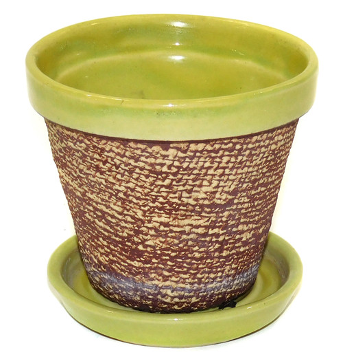 Vintage Small Art Pottery Shawnee Flower Pot with Burlap Textured Sides