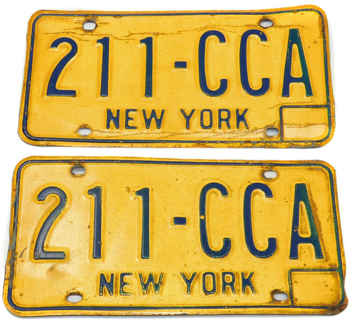 1973-80 Matching Pair Set New York State License Plates - Tag #211-CCA