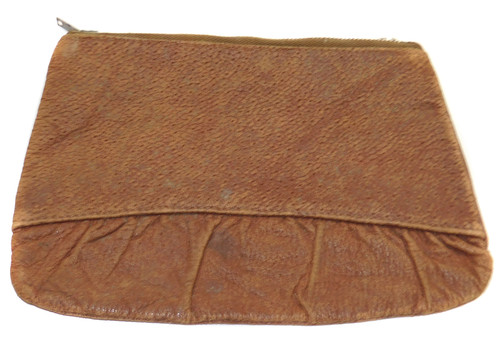 Antique Single Zippered Leather Handbag Clutch Purse