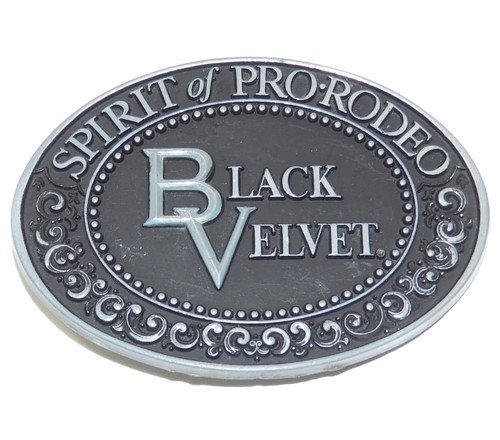 Vintage Black Velvet Whisky Advertising Spirit of Pro-Rodeo Belt Buckle