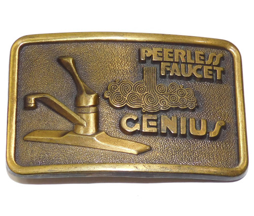 Vintage Peerless Faucet Genius Plumber Themed Advertising Belt Buckle