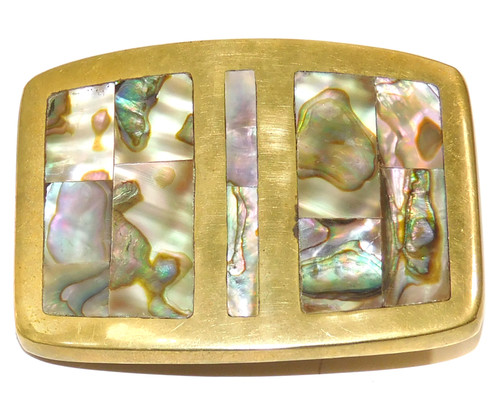 Vintage Solid Brass Belt Buckle with Inlaid Mother of Pearl Abalone Shell
