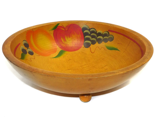 Vintage Mid-Century Wooden Footed Bowl with Hand-Painted Fruit Tole Treenware
