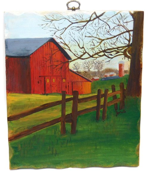 Vintage Signed Naive Folk Art Landscape Painting of Farm on Wood Board