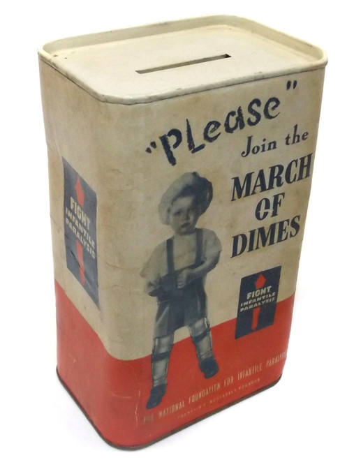 Vintage March of Dimes Charity Donation Box Change Bank Container