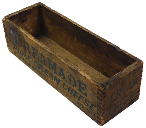 Primitive Antique Distressed Creamade Cream Cheese Wood Advertising Box