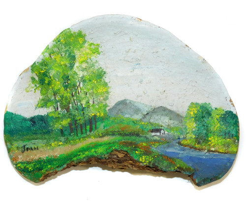 Vintage Naive Folk Art Landscape Painting by Joan on Tree Fungus