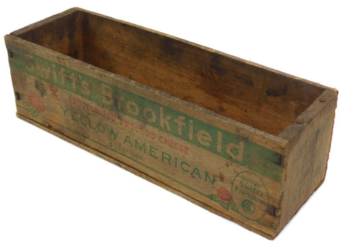 Primitive Antique Distressed Swift's Brookfield American Cheese Wood Box