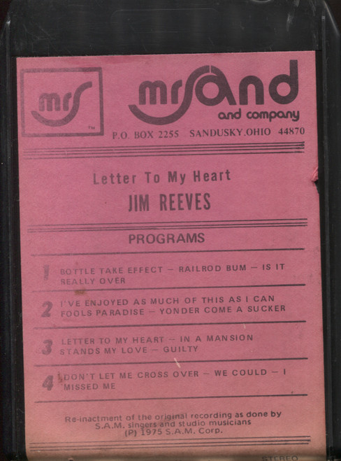 S.A.M. Singers: Letter to My Heart Jim Reeves - 8 Track Tape
