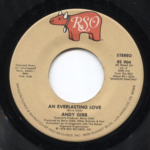 Andy Gibb: Flowing Rivers / An Everlasting Love - 45 rpm Vinyl Record