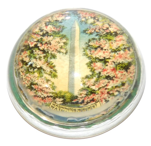 Vintage Clear Glass Dome Magnifying Paperweight Washington Monument D.C.