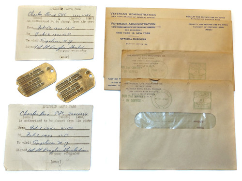 Vintage 1942 WW2 Era U.S.Army Soldier Dog Tag Pass & Paper Lot - Charles J. Derx Angelica NY