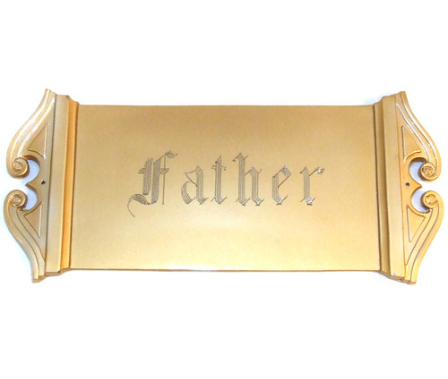 Parsons Brushed Gold Tone Father Engraved Art Deco Casket Plate / Coffin Plaque