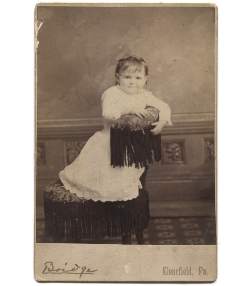 Antique Victorian Cabinet Card Photograph Toddler on Chair - Clearfield, PA
