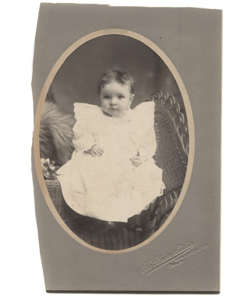 Antique Victorian Cabinet Card Photograph Baby Levitating Over Wicker Chair - Philadelphia