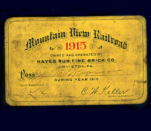 Railroad Pass 1915 Mountain View Hayes Run Fire Brick Co. - Orviston, PA