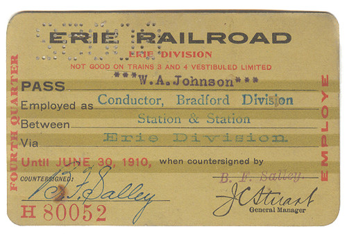1910 Erie Railroad Employee Conductor Train Boarding Pass