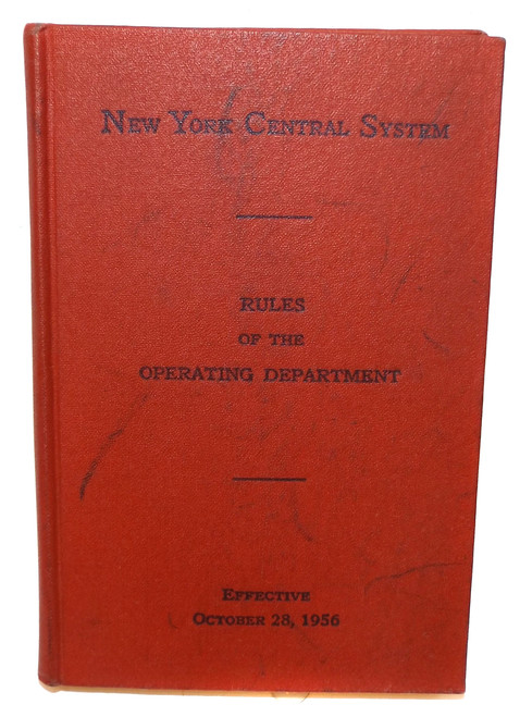 1956 Vintage Rules of the Operating Department New York Central System Railroad Book