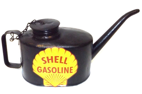 Antique Repainted Eagle Railroad Oil Can Oiler w/ Shell Gasoline Advertising Decal