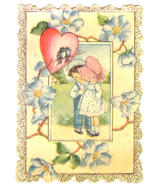 1921 Little Boy & Girl Valentine With Love Birds and Blue Flowers
