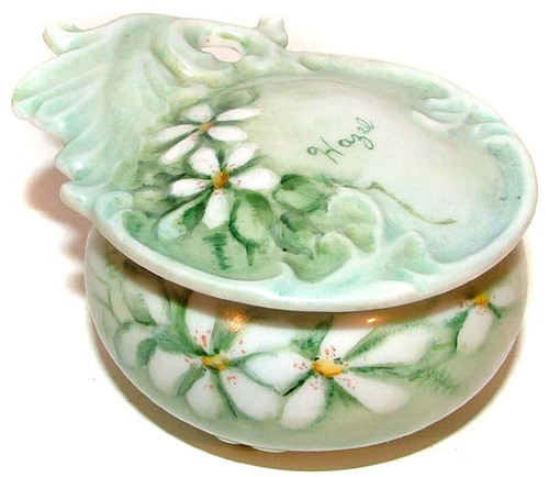 Antique Art Nouveau Pill Box or Trinket Jar Hand-Painted Lidded