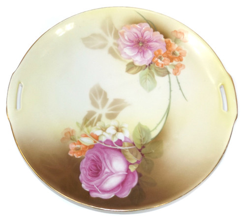 Antique RS Prussia Tillowitz Silesia Porcelain Plate with Handles Rose Pattern