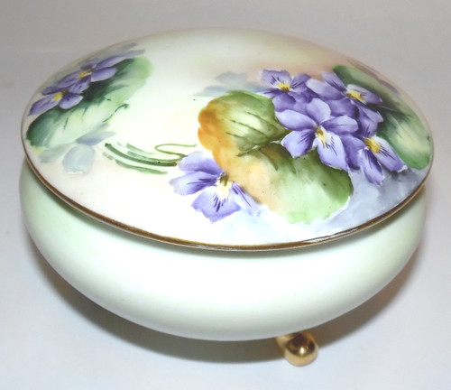 Antique Signed Hory Hand-Painted Violets Footed Lidded Porcelain Dresser Box