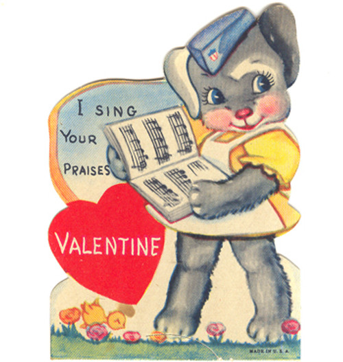 Bunny With Songbook and Military Hat Valentine