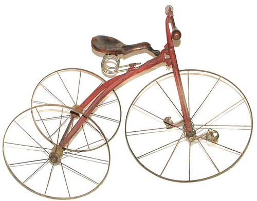 Antique 1870's Victorian Strap Steel Velocipede Tricycle
