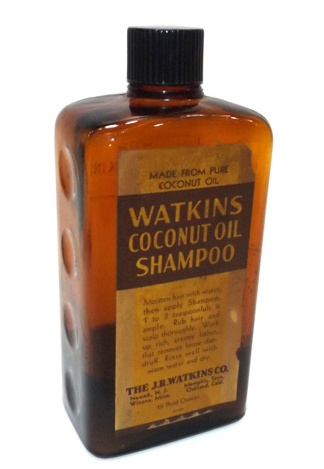 Vintage J.R. Watkins Co. Coconut Oil Shampoo Bottle w/ Parital Contents