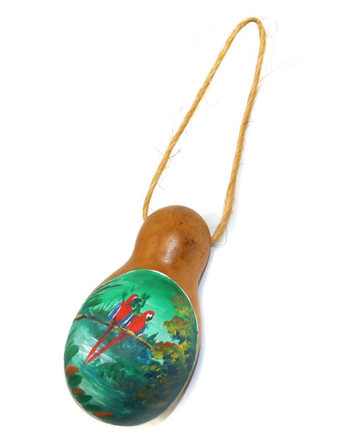 Vintage Hand-Painted Gourd w/ Two Parrots on Branch Scene
