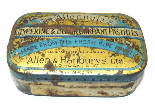 Vintage Allenburys Glycerine & Black Currant Pastilles Cough Drop Medicine Tin