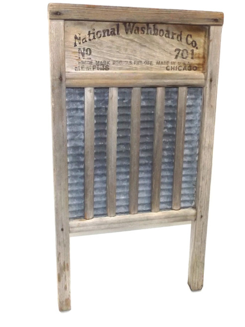 Heavily Weathered Primitive National Washboard Co. No. 701 Zinc King Wooden Wash Board