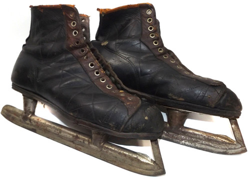 Antique Pair Black & Brown Leather Ice Hockey Skates - Great for Decorations or Craft Projects
