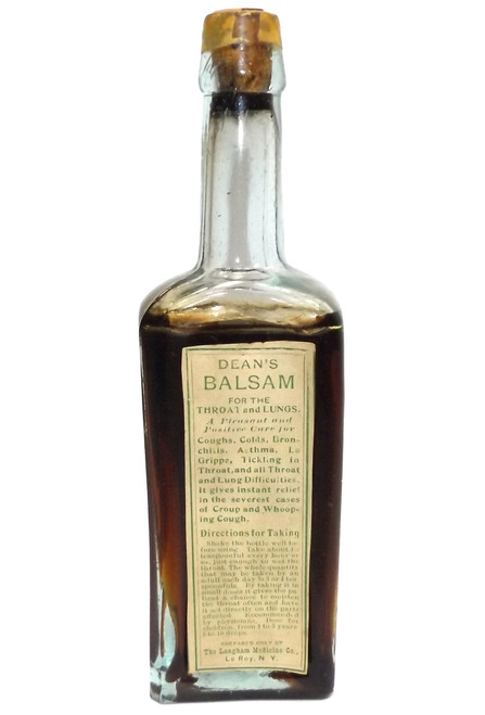 Antique Full NOS Dean's Balsam Throat Lung Remedy Cure Bottle Langham Medicine Co. Le Roy, NY