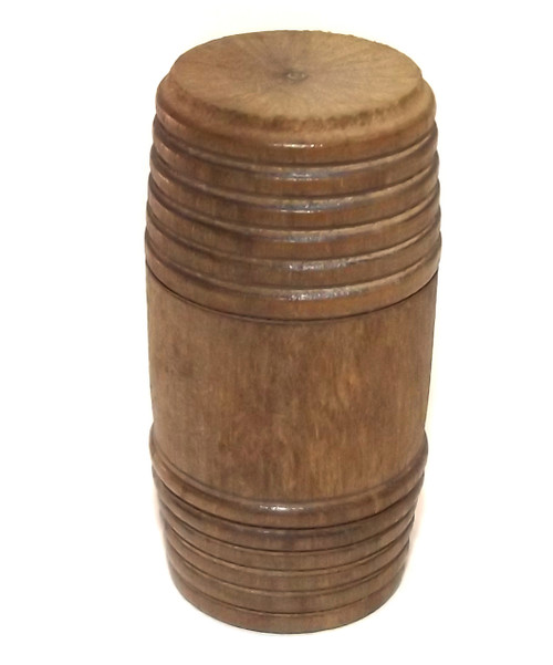 Small Antique Turned Wood Two Piece Treen Barrel Box - 2 Inch